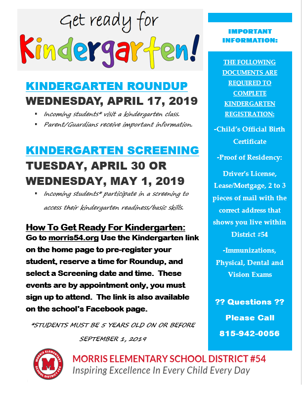 Kindergarten Roundup and Screenings for 2019-20 School Year