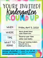 Kindergarten Roundup, Friday, April 3, 2020!